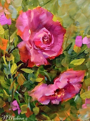 """Pink Roses of Coronado and a San Diego Workshop by Floral Artist Nancy Medina"" original fine art by Nancy Medina"