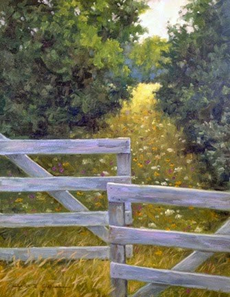 """""""'Through the Gate' (Martha's Vineyard, MA) An Original Oil Painting by Claire Beadon Carnell"""" original fine art by Claire Beadon Carnell"""