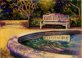 """Monotype & Watercolor: Garden Bench"" original fine art by Belinda Del Pesco"