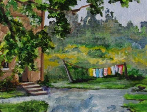 """Latvia Laundry"" original fine art by Nan Johnson"