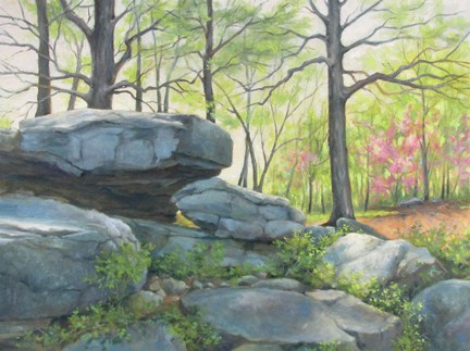 """""""SPRING MORNING ON LITTLE ROUND TOP Gettysburg National Military Park An Original Oil Painting by Cla"""" original fine art by Claire Beadon Carnell"""
