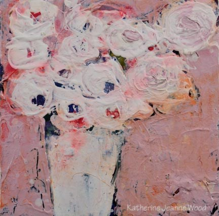 """White Cottage Chic Roses Floral Painting No 95"" original fine art by Katie Jeanne Wood"