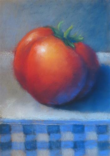 """Ripe Tomato in Blue Gingham"" original fine art by Judy Albright"