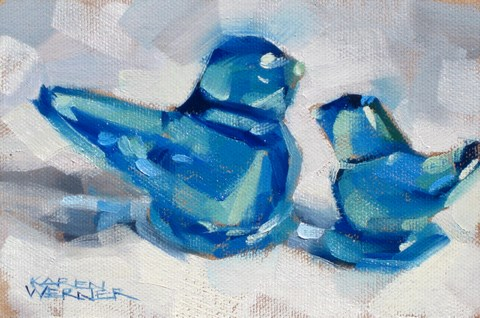 """Happy Bluebirds"" original fine art by Karen Werner"