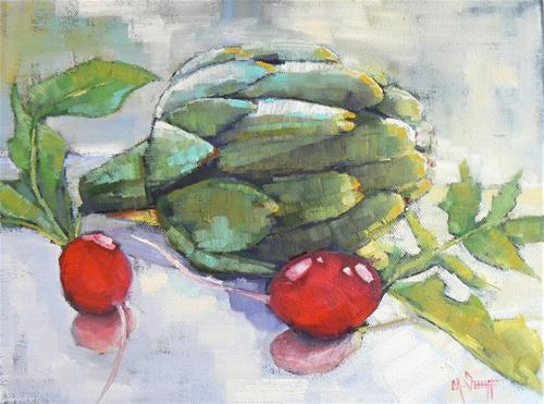 Artichoke and Radishes original fine art by Carol Schiff