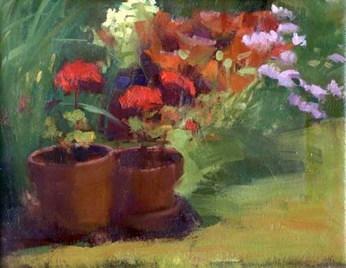 """Geraniums"" original fine art by Kathy Weber"