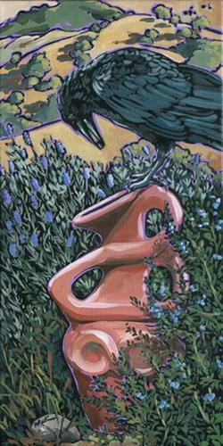 """Raven and Urn"" original fine art by Nadi Spencer"