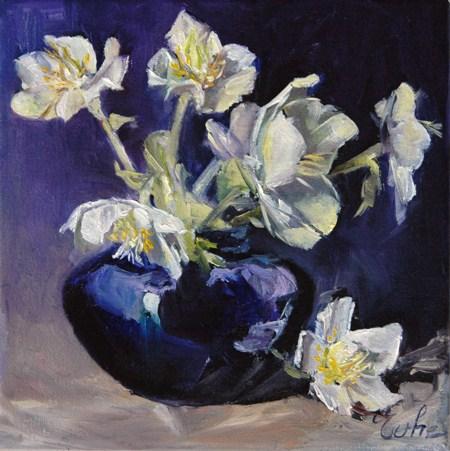 """""""Bouquet d'hellébores"""" original fine art by Evelyne Heimburger Evhe"""