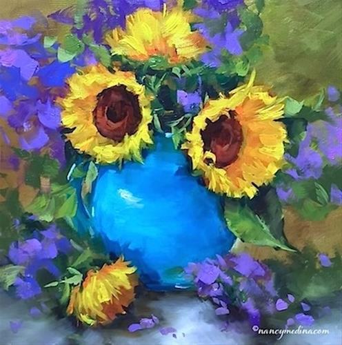"""Summer Days Sunflowers and French Painting Workshop - Nancy Medina Art"" original fine art by Nancy Medina"