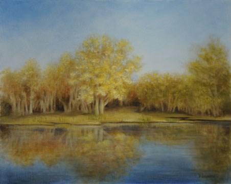 """""""Golden Reflection #1302"""" original fine art by Dee Lessard"""