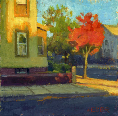 """Autumn on Broadway"" original fine art by Kathy Weber"