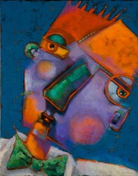 """""""Guys In Ties #6, Simple Man"""" original fine art by Brenda York"""