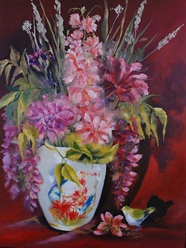 """(grandma) Dorothy's Dahlias, 24 x 18 Oil, Floral"" original fine art by Donna Pierce-Clark"