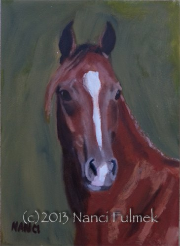 """Phionex Arabian mini portrait"" original fine art by Nanci Fulmek"