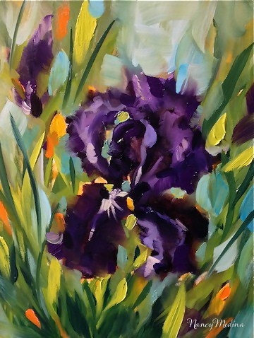 """Purple Thunder Iris and a Sunflower Video by Texas Flower Artist Nancy Medina"" original fine art by Nancy Medina"