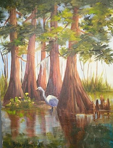 """Five Sisters and One Egret"" original fine art by Barbara Haviland"