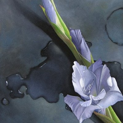 """Gladiolus on Bronze 6x6"" original fine art by M Collier"