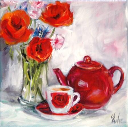 """Thé fleuri"" original fine art by Evelyne Heimburger Evhe"