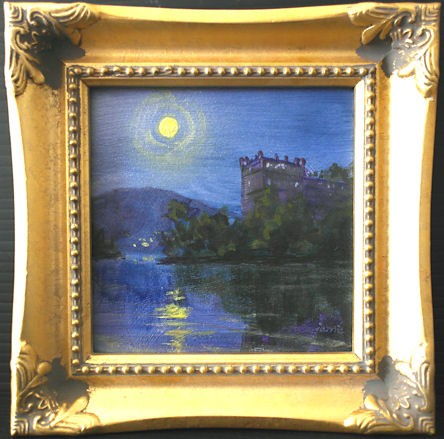 """Full Moon Over the Castle Ruins"" original fine art by Jamie Williams Grossman"