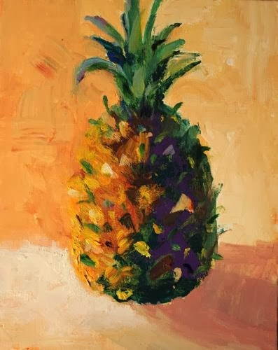 """Pineapple, Contemporary Still Life Paintings by Arizona Artist Amy Whitehouse"" original fine art by Amy Whitehouse"