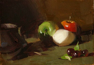 """Humpty with Fruit"" original fine art by Qiang Huang"