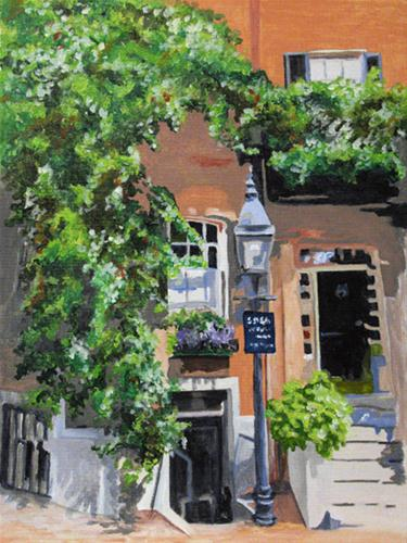 """Louisburg Square in Boston"" original fine art by Nan Johnson"
