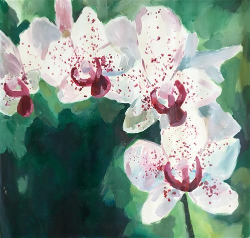 """White and Pink Orchids"" original fine art by Nava Judith"