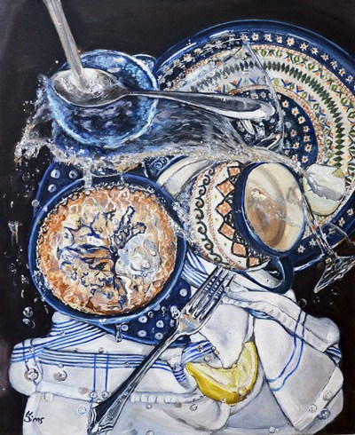 """Sink Splatter: Polish Pottery LXII 16x20"" original fine art by Heather Sims"