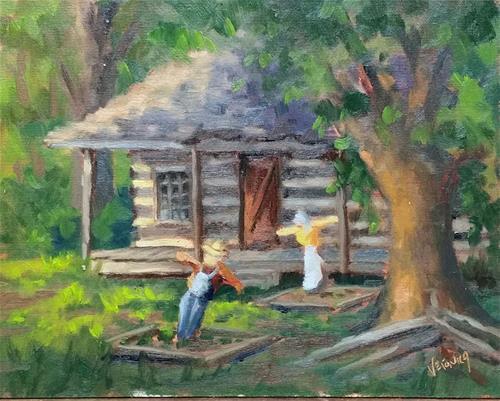 """Scarecrows at Mertz Cabin-en plein air"" original fine art by Veronica Brown"