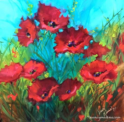 """Scarlet Silhouette Poppies"" original fine art by Nancy Medina"