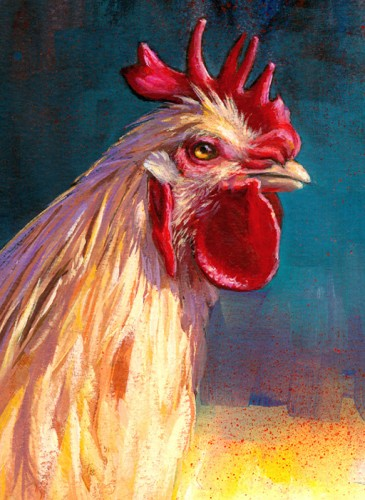 """Portrait of the Chicken as a Young Cockerel"" original fine art by Lesley Spanos"