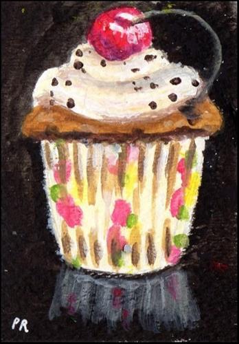 """Cherry Cupcake ACEO"" original fine art by Patricia Ann Rizzo"