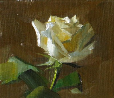 """White Rose --- Sold"" original fine art by Qiang Huang"