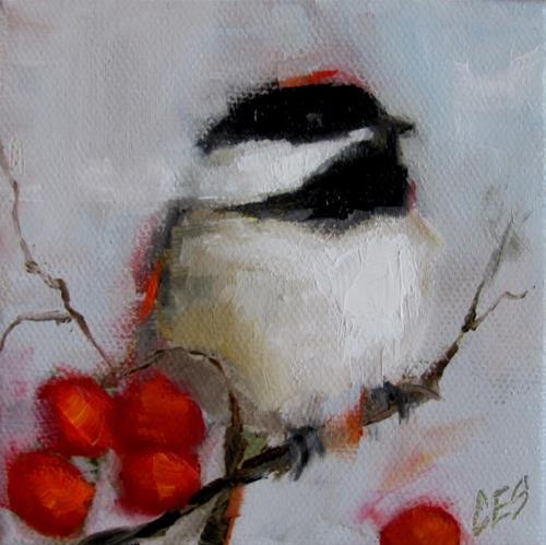 """Impasto Chickadee"" original fine art by ~ces~ Christine E. S. Code"