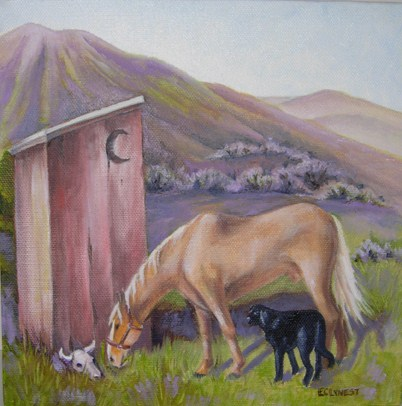 """Outhouse 1"" original fine art by Elaine Lynest"