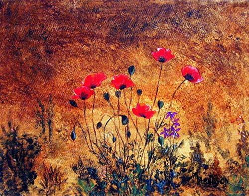 """Landscape Flower Art Poppy Painting  In Harmony by Mary Arneson Art-Works of Whimsy"" original fine art by Mary Arneson"