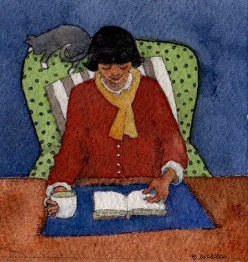 """Watercolor: Books and Coffee"" original fine art by Belinda Del Pesco"