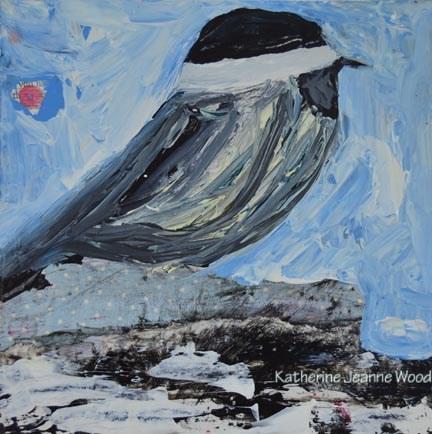 """Cottage chic chickadee bird painting No 25"" original fine art by Katie Jeanne Wood"