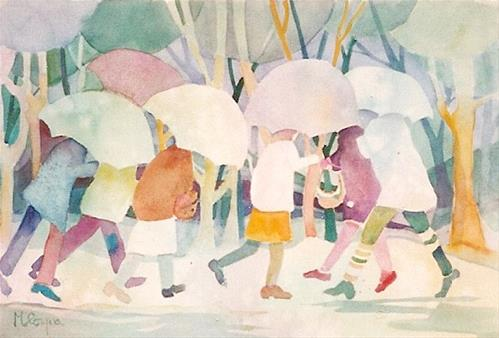 """umbrellas"" original fine art by meribeth coyne"