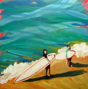 """Heidrich Girls Surfing"" original fine art by Pam Van Londen"