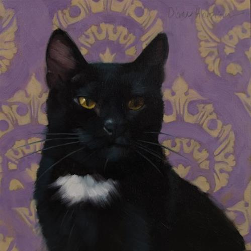 """Patch portrait of black cat on pattern"" original fine art by Diane Hoeptner"
