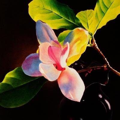 """""""Magnolia & Vase"""" original fine art by Jacqueline Gnott, whs"""