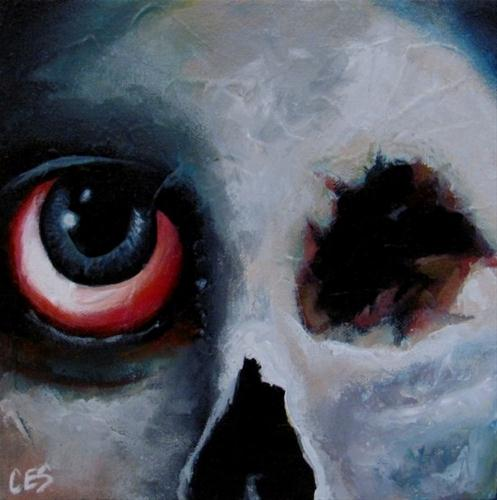 """""""The Almost Mostly Dead With One Big Eye Skull Face Guy"""" original fine art by ~ces~ Christine E. S. Code"""