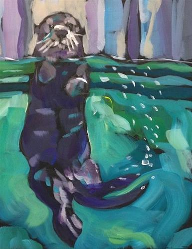 """Spy Pop Otter!"" original fine art by Kat Corrigan"