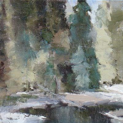 """Trees by Creek"" original fine art by Susan Hammer"