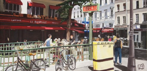"""Metro Bastille"" original fine art by Andre Beaulieu"