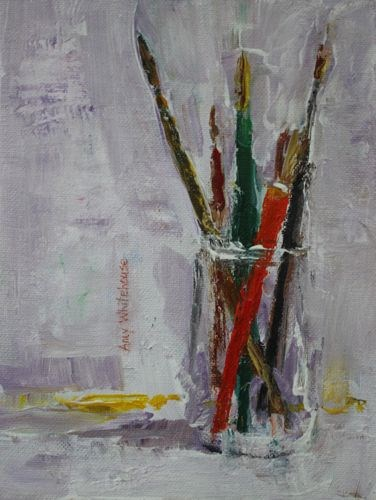 """Paintbrushes, Contemporary Still Life Paintings by Amy Whitehouse"" original fine art by Amy Whitehouse"