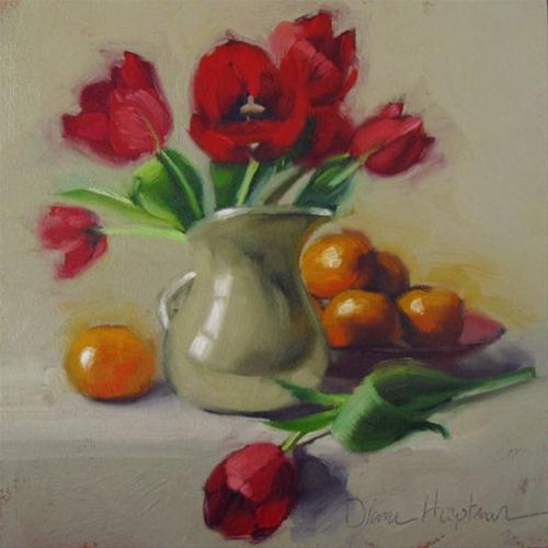One Down red tulips oranges still life painting original fine art by Diane Hoeptner
