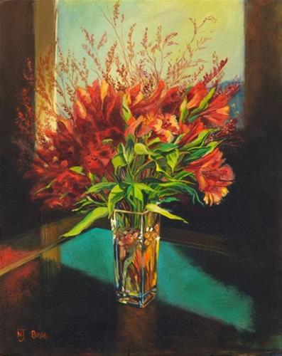 """Still Life Flower Art Painting Red Flowers by Colorado Artist Nancee Jean Busse"" original fine art by Nancee Busse"