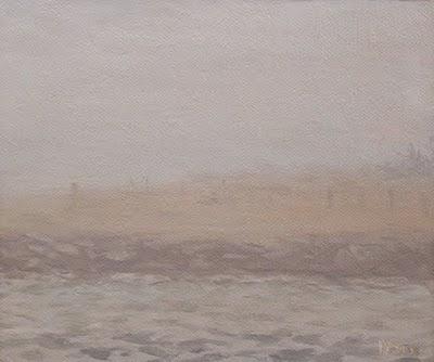 """Snow Fence in the Fog"" original fine art by Abbey Ryan"